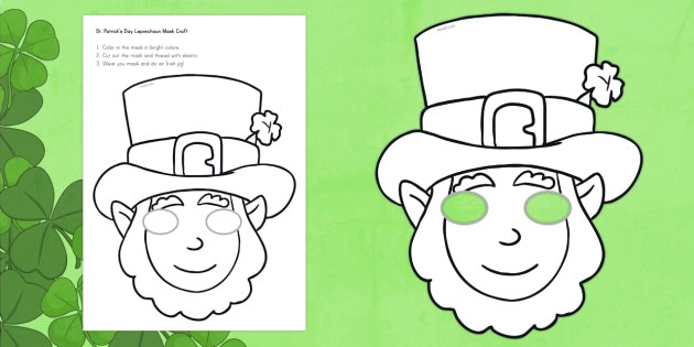 Leprechaun mask template images template design ideas for Leprechaun mask template