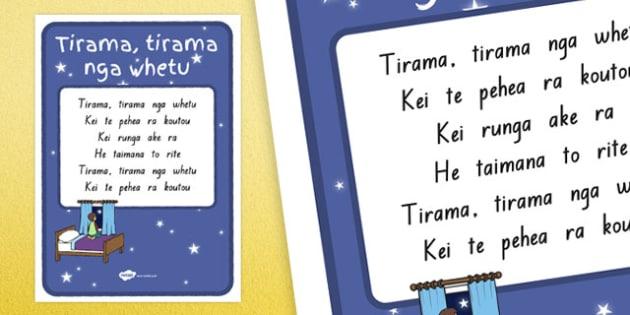 Twinkle Twinkle Little Star Te Reo (version 2) A4 Display Poster