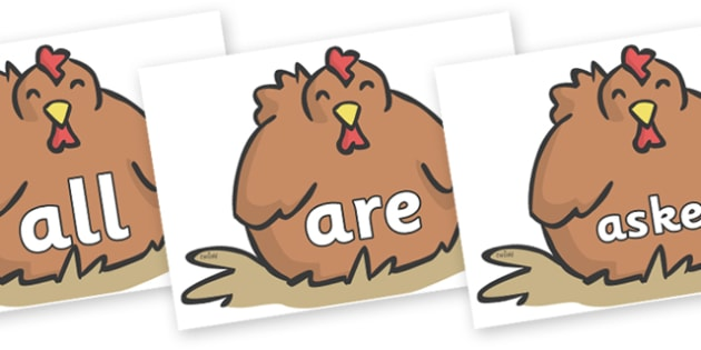 Tricky Words on Chickens - Tricky words, DfES Letters and Sounds, Letters and sounds, display, words