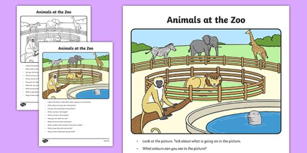 Animals at the Zoo Oral Language Activity Sheet-Irish, worksheet