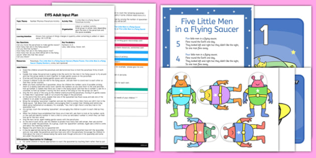 Five Little Men in a Flying Saucer Parachute Activity EYFS Adult Input Plan and Resource Pack - EYFS planning, early years activities, number, counting, changes in quantity, adult led