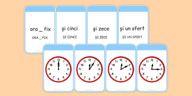 Cât este ora? - Cartonașe de punere în corespondență - ora, ceas, cartonașe, corespondență, unități de măsură, ore, citirea ceasului,  materiale, materiale didactice, română, romana, material, material didactic