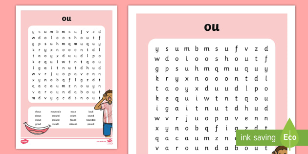 ou\' Digraph Differentiated Word Search - vowel diagraph
