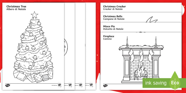 Christmas Coloring Sheets English Italian Christmas Coloring Sheets