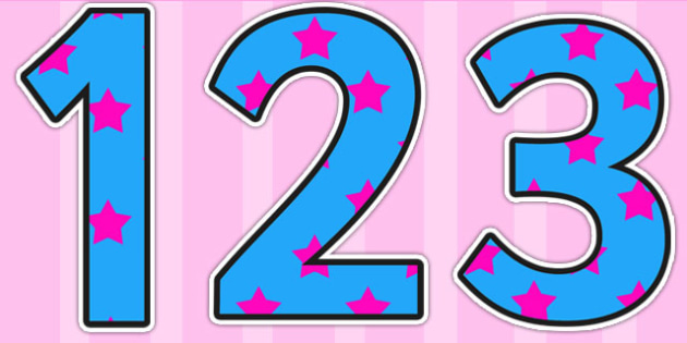 Blue and Pink Stars Small Display Numbers - display numbers, blue, pink