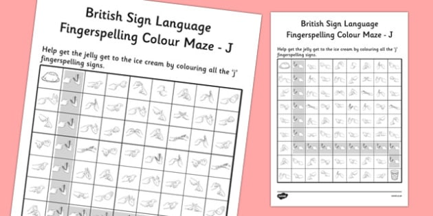 British Sign Language Fingerspelling Colour Maze J - colour, maze