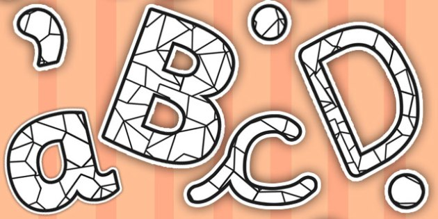 Stained Glass Black and White Themed Display Lettering - glass