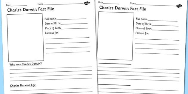 Charles Darwin Significant Individual Fact Sheet Writing Frame