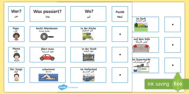 Deutsch-Arabisches alltägliche Sätze Arbeitsblatt zum Satzbau: