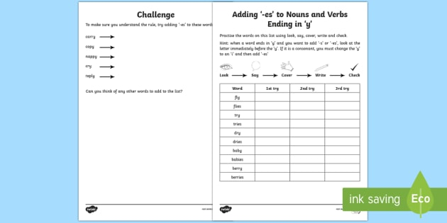 Year 2 Spelling Practice Y And Ies Homework Worksheet