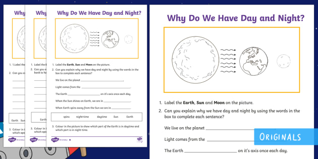 Why Do We Have Day And Night Differentiated Worksheet