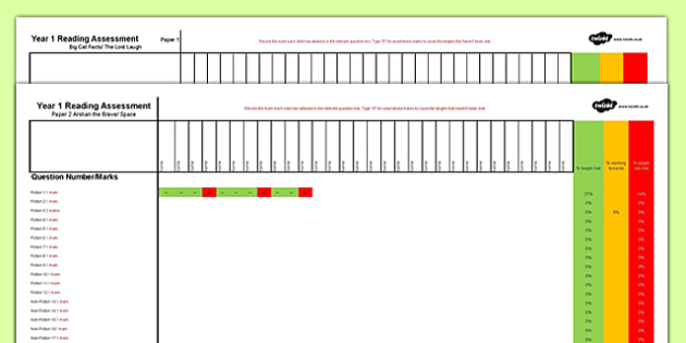 Year 1 Term 1 Reading Assessment Spreadsheet - formative, summative, diagnostic, fiction, non-fiction
