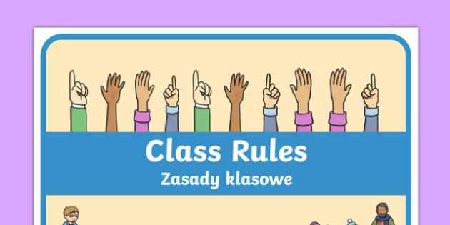 Class Rules Display Poster Polish Translation - behaviour, record, display, classroom, management, visual aid, ks1, eyfs,