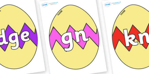 Silent Letters on Easter Eggs (Cracked) - Silent Letters, silent letter, letter blend, consonant, consonants, digraph, trigraph, A-Z letters, literacy, alphabet, letters, alternative sounds