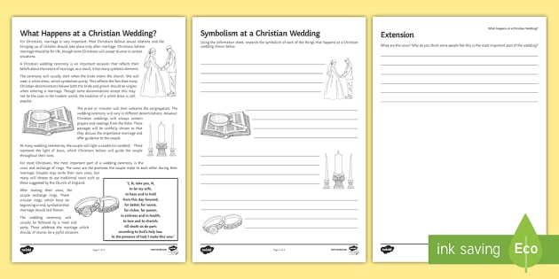 Christian Weddings Worksheet Activity Sheet Weddings