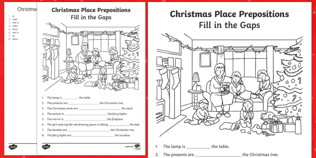 Preposition In Learn In Marathi All Complate: Christmas Place Prepositions Fill In The Gaps Worksheet