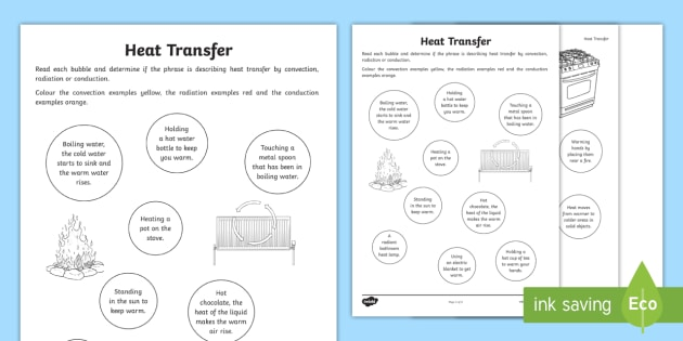 Heat Transfer Worksheet / Worksheet - convection, radiation, conduction