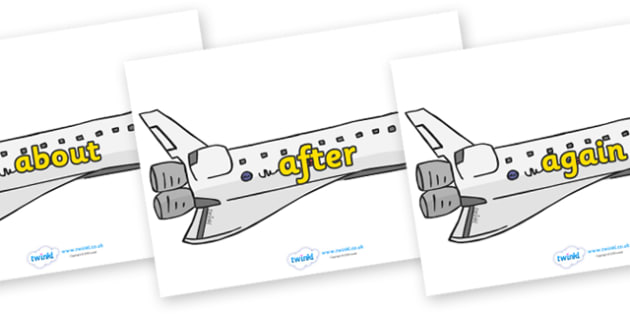 KS1 Keywords on Space Shuttles - KS1, CLL, Communication language and literacy, Display, Key words, high frequency words, foundation stage literacy, DfES Letters and Sounds, Letters and Sounds, spelling