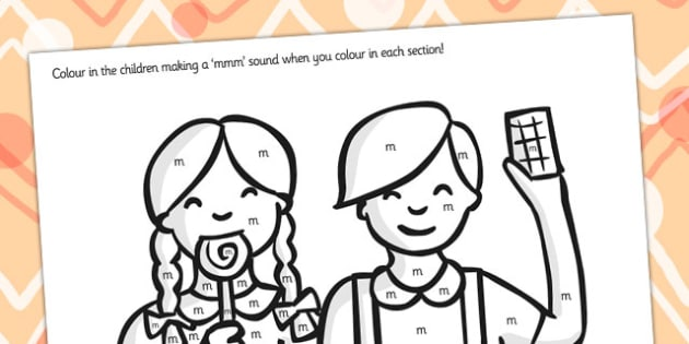 Initial m Sound Production Colouring Sheet - initial m, sounds