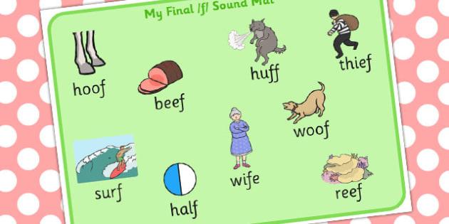 Final F Sound Word Mat 2 - final f, sound, word mat, word, mat