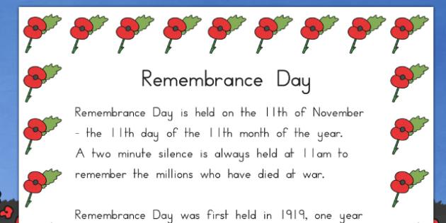Remembrance Day Information Sheet (Australia) - remember, sheets