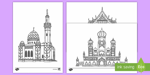 Religious Buildings Mindfulness Coloring Pages
