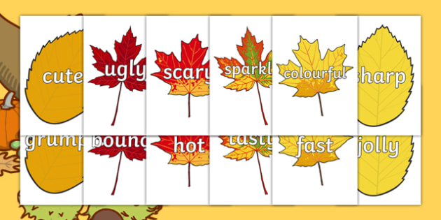 Wow Words on Autumn Leaves - Wow words, adjectives, VCOP, describing, Wow, display, poster, wow display, tasty, scary, ugly, beautiful, colourful sharp, bouncy