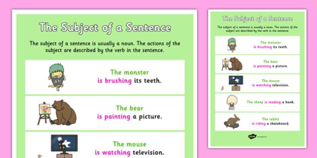 The Subject of a Sentence - subject, sentence, subject of, sen
