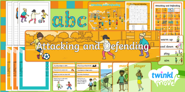 Twinkl Move - Year 1 Attacking and Defending - Additional Resources - Move, Attacking and Defending, pe, physical, education, display, banner, posters, word cards, vocabu