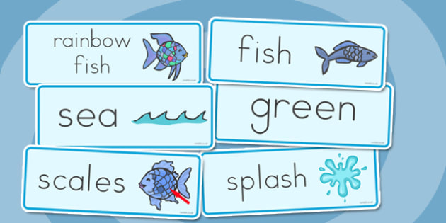 Word Cards to Support Teaching on The Rainbow Fish - australia, rainbow fish, word cards
