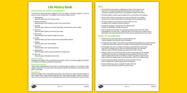 Life History Book Instructions - Elderly, Reminiscence, Care Homes, Life History Books