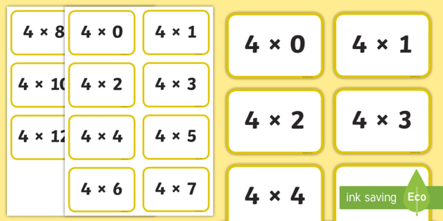 Four Times Table Flashcards