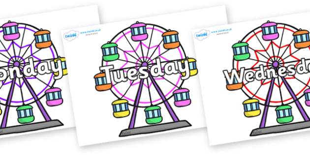 Days of the Week on Ferris Wheels - Days of the Week, Weeks poster, week, display, poster, frieze, Days, Day, Monday, Tuesday, Wednesday, Thursday, Friday, Saturday, Sunday