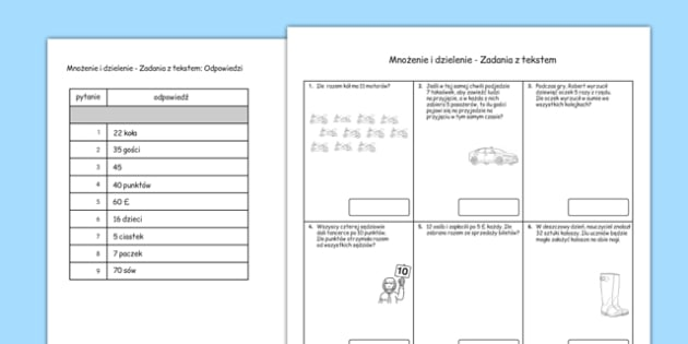 Year 2 Multiplication and Division Word Problems x2, x5, x10 Polish - polish, Real life, context