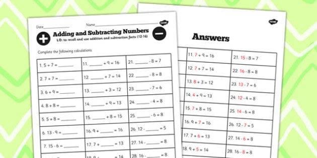 Number Facts Worksheet 12-16 One Digit - number, facts, sheet