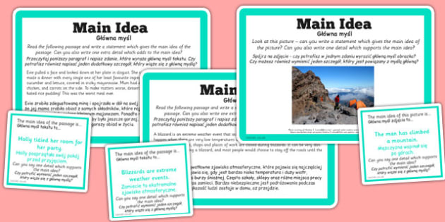 Guided Reading Skills Task Cards Main Idea Polish Translation - Poland, challenge cards, story