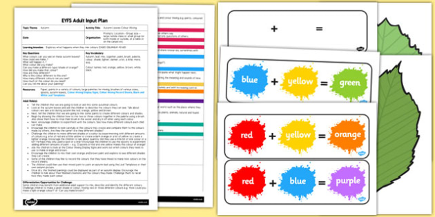 Autumn Colour Mixing EYFS Adult Input Plan and Resource Pack