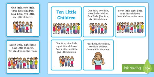 Ten Little Children Counting Song Sequencing - Ten, Little, Song