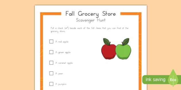 Fall Grocery Store Scavenger Hunt for Preschoolers Activity