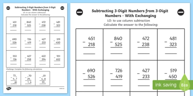 Subtracting 3 Digit Numbers from 3 Digit Number Worksheet Year 3