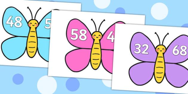 Number Bonds to 100 on Butterflies - number bonds, 100, butterflies