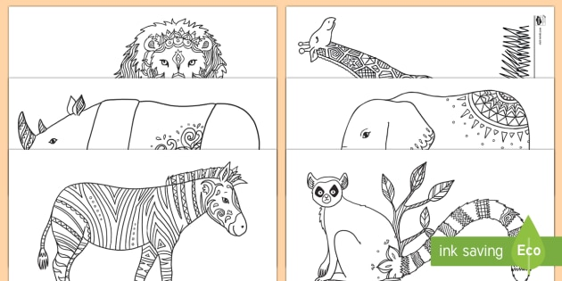 Zootiere Ausmalbilder zur Besinnung - Besinnung, Ausmalbilder