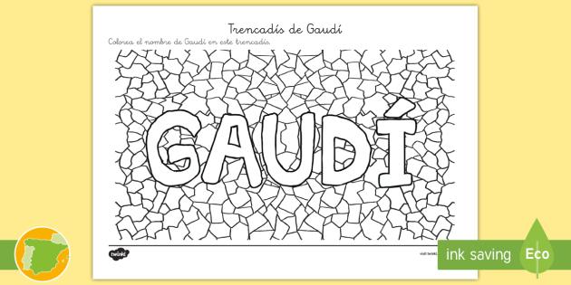 Trencadís de Gaudí - Colorea - Gaudí, modernismo, arte