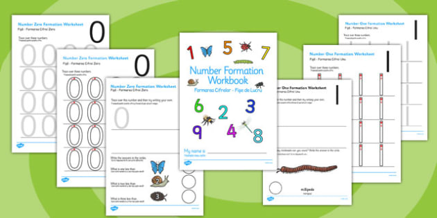 Minibeasts Themed 0-9 Number formation Workbook Romanian Translation - romanian, overwriting