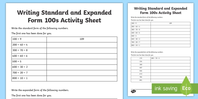 Writing Standard And Expanded Form 100s Worksheet Activity