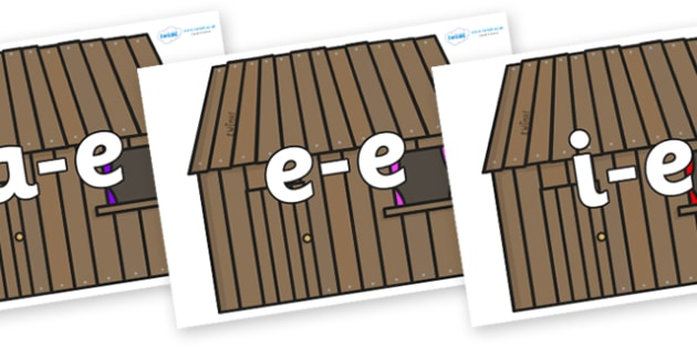 Modifying E Letters on Wooden houses - Modifying E, letters, modify, Phase 5, Phase five, alternative spellings for phonemes, DfES letters and Sounds