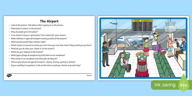 The Airport Oral Language  Activity Sheet-Irish, worksheet