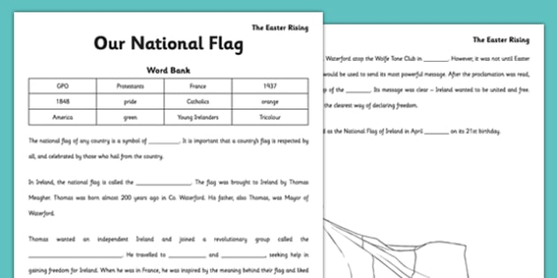 1916 Rising Our National Flag Cloze Activity - gaeilge, irish, national flag, cloze activity, 1916 rising
