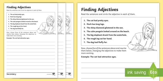 ks3 sen finding adjectives differentiated worksheet worksheets finding. Black Bedroom Furniture Sets. Home Design Ideas