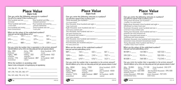 place value worksheet polish translation polish place value. Black Bedroom Furniture Sets. Home Design Ideas